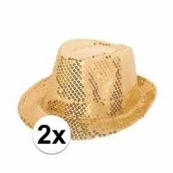 2x party hoedjes gouden pailletten