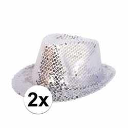 2x party hoedjes zilveren pailletten