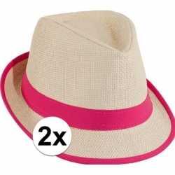 2x voordelige trilby stro hoedje roze
