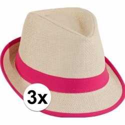 3x voordelige trilby stro hoedje roze