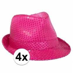 4x voordelige neon roze trilby hoed pailletten