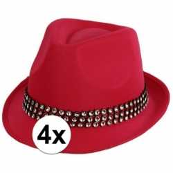 4x voordelige roze hoed zilveren steentjes