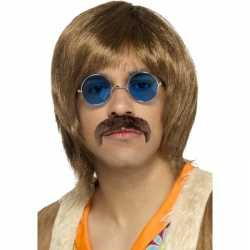 Abba heren verkleed pruik snor bril setje feest heren