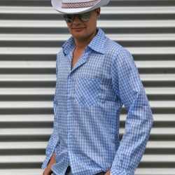Blauw cowboy overhemd ruitjes