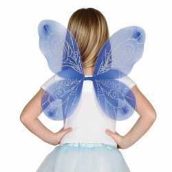 Blauw gekleurde vleugels feest meisjes