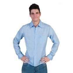 Blauw wit overhemd ruitjes