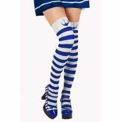 Blauw/witte matroos kousen verkleed accessoire feest dames