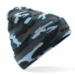 Blauwe camouflage gebreide wintermuts feest volwassenen