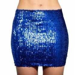 Blauwe glitter pailletten disco rokje dames