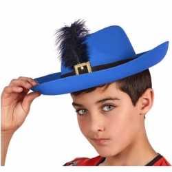 Blauwe musketier verkleed hoed feest kinderen