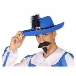 Blauwe musketier verkleed hoed feest volwassenen
