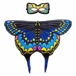 Blauwe zwaluwstaart vlinder verkleedset feest meisjes