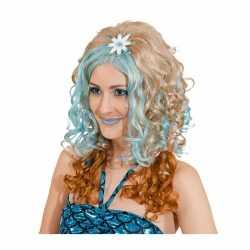Blonde damespruik blauwe plukken