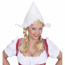 Boerinnen hoofdkapje wit feest dames