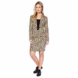Bruin dames kleding luipaard afgebeeld