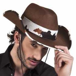 Bruine cowboyhoed texas koeienprint feest volwassenen
