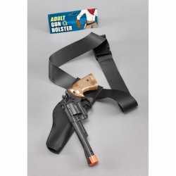 Carnavals accessoires zwarte pistool in holster 22 centimeter