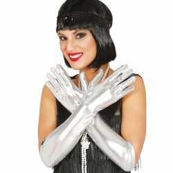 Carnavals metallic zilveren gala handschoenen