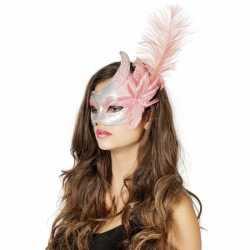 Carnavals oogmasker roze/zilver grote bloem veer