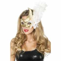 Carnavals oogmasker wit/goud grote bloem veer