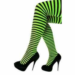 Carnavals panty zwart groen