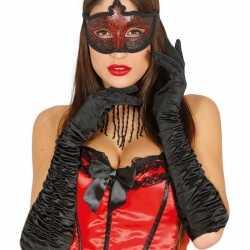 Carnavals satijnen zwarte gala handschoenen