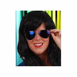 Carnavals spiegelbril blauw