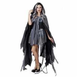Carnavals verkleed cape grijs capuchon 10093592