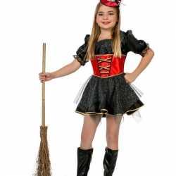 Carnavalskleding heksenkjurk rood zwart
