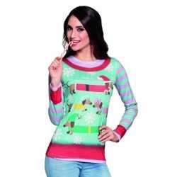 Carnavalskleding kerstprint dames shirt 10075237