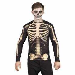 Carnavalskleding skelet heren shirt