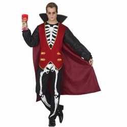 Carnavalskleding vampier skelet opdruk