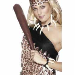 Cavewoman ketting, armband oorbellen