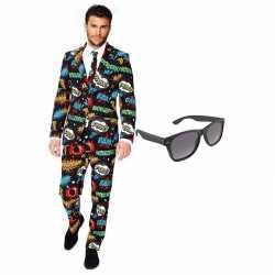 Comic afgebeeld heren kleding maat 56 (xxxl) gratis zonnebril