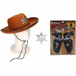Cowboy accessoire set bruin feest kinderen