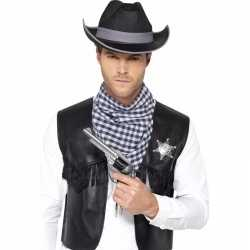 Cowboy verkleed set zwart feest heren