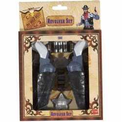 Cowboy verkleedset 2 revolvers holster feest volwassenen