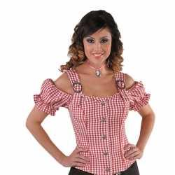 Cowgirl overhemd feest dames rood off shoulder