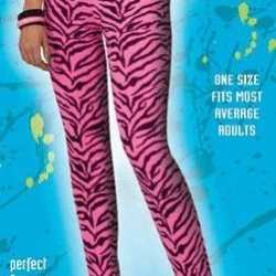 Dames legging roze zebra afgebeeld