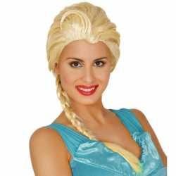 Dames verkleedpruik blond lange vlecht