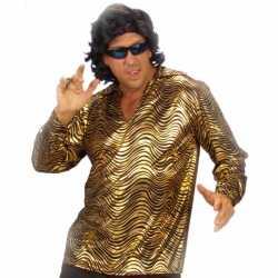 Disco shirt goud feest mannen