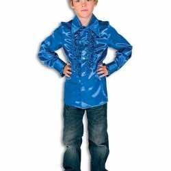 Disco shirt kobaltblauw feest jongens