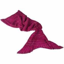 Donker roze gebreide zeemeermin deken feest meisjes 140 centimeter