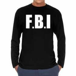 F.b.i. long sleeve t shirt zwart feest heren