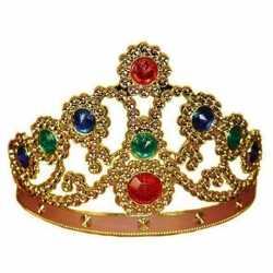 Feestartikelen gouden kroon gekleurde stenen