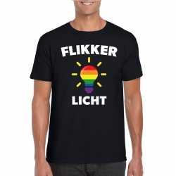 Flikker licht shirt regenboog lampje zwart heren