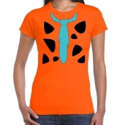 Fred holbewoner kleding t shirt oranje feest dames