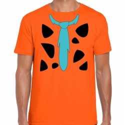 Fred holbewoner kleding t shirt oranje feest heren