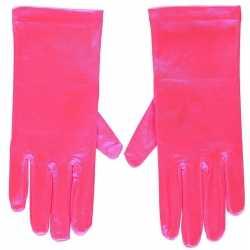 Fuchsia roze gala handschoenen kort van satijn 20 centimeter