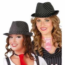 Gangster hoed zwart/wit feest dames/heren